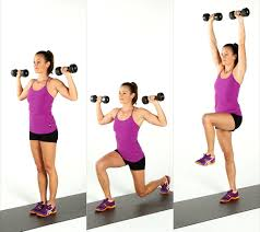 .functional fitness Alternating Lunge to Dumbbell Press