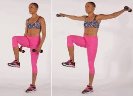 functional fitness knee lift with lateral raise